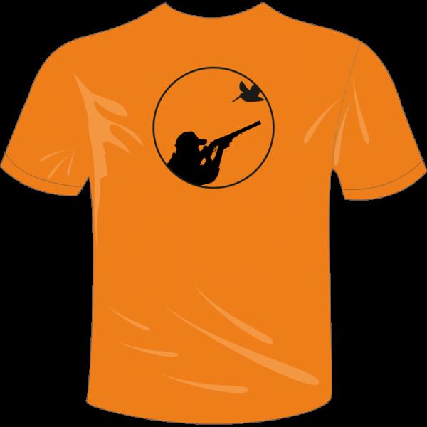 Camiseta caza con imagen de tirador y becada en la espalda, color naranja