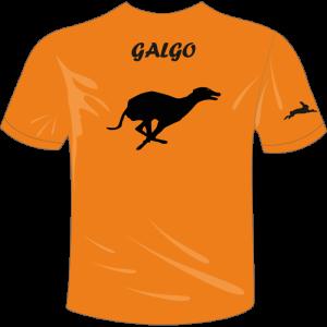 Camista de caza color naranja, con galgo en la espalda y liebre en brazo