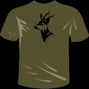 Camiseta de caza color verde con un corzo en la espalda
