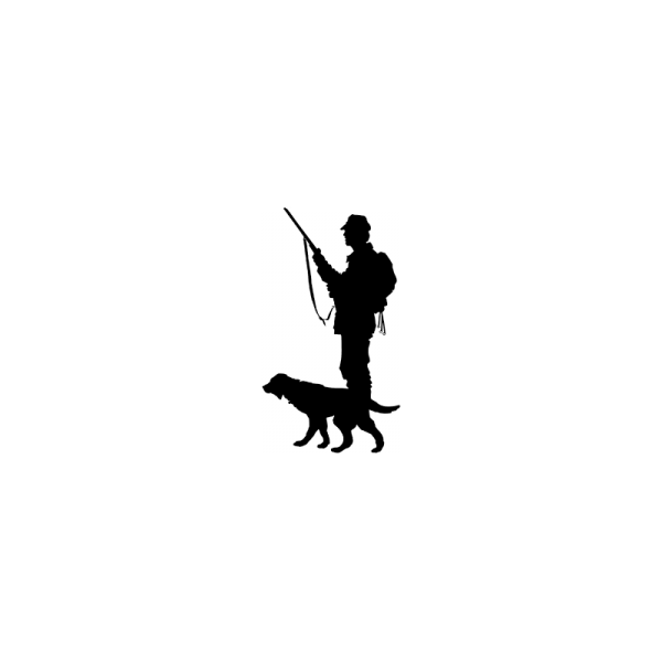 pegatina de cazador con un cachorro de setter en muestra