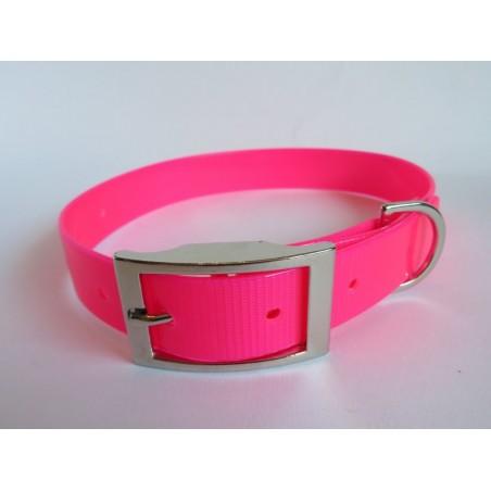 collar de biothane original color rosa reflectante