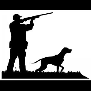pegatina de cazador con un pointer apuntando