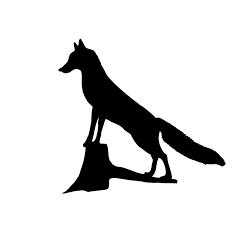 Pegatina de zorro subido a un tronco. Pegatinas de caza para toda españa