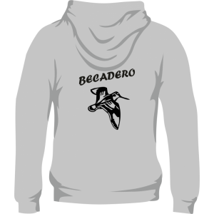 Sudadera de caza con capucha, con una becada en la espalda. Color gris