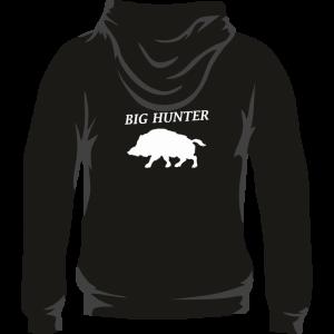 Sudadera de caza con capucha, con un jabalí en la espalda. Color negro