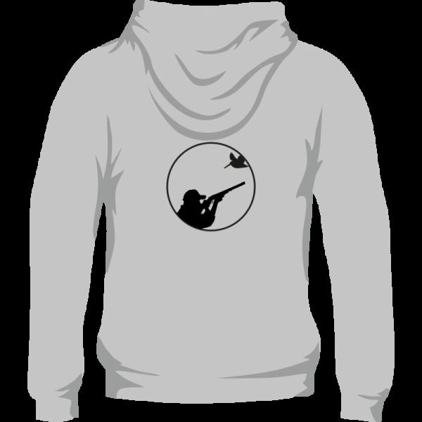 Sudadera de caza con capucha con un tirador y becada en la espalda. Color gris