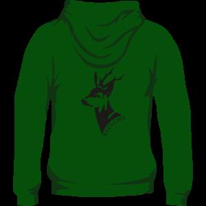 Sudadera de caza con capucha con corzo en la espalda. Color verde