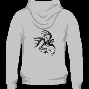 Sudadera de caza con capucha con venado en la espalda. Color gris