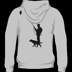 Sudadera de caza con capucha con cazador y perro en la espalda. Color gris