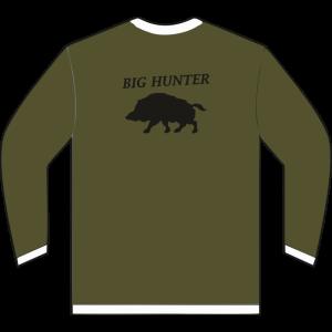 Sudadera de caza con cremallera con jabalí en la espalda color verde