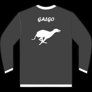 Sudadera de caza con cremallera con galgo en la espalda color gris pizarra