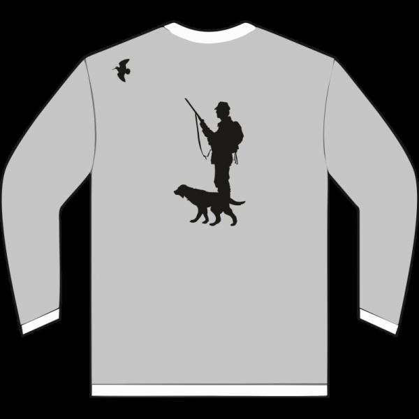imagen de cazador de becada en sudadera gris