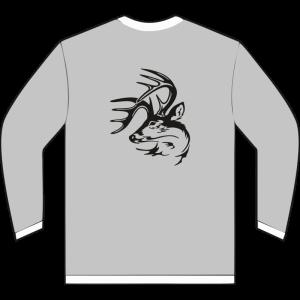 Sudadera gris claro de caza con venado en la espalda