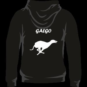 Sudadera de caza con capucha con galgo en la espalda. Color negro
